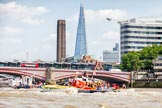 """TOW River Thames Barge Driving Race 2013: Barges on the way back to Greenwich, passing Blackfriars Bridge, with the """"Shard"""" building in the background.. River Thames between Greenwich and Westminster, London,  United Kingdom, on 13 July 2013 at 14:51, image #536"""