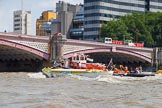 """TOW River Thames Barge Driving Race 2013: Barge """"Hoppy"""", by GPS Fabrication being towed back to Greenwich by GPS Marine tug """"Vincia"""", here passing Blackfriars Bridge.. River Thames between Greenwich and Westminster, London,  United Kingdom, on 13 July 2013 at 14:52, image #537"""