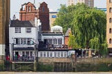 TOW River Thames Barge Driving Race 2013: Said to be the oldest riverside tavern: The Prospect of Whitby public house at Wapping Wall, London E1W, seen from the river.. River Thames between Greenwich and Westminster, London,  United Kingdom, on 13 July 2013 at 15:08, image #549