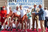 "TOW River Thames Barge Driving Race 2013: The ""Ken Collins Memorial Trophy"", the price for the best dresses crew, goes to the crew of barge ""Hoppy"", by GPS Fabrication.. River Thames between Greenwich and Westminster, London,  United Kingdom, on 13 July 2013 at 16:21, image #570"