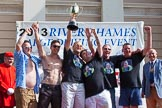 "TOW River Thames Barge Driving Race 2013: The ""Harry Hayword Award"", for the first crew with two pennants, goes to the crew of barge ""Darren Lacey"", by Princess Pocahontas.. River Thames between Greenwich and Westminster, London,  United Kingdom, on 13 July 2013 at 16:23, image #573"