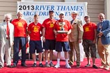 "TOW River Thames Barge Driving Race 2013: The ""Chris Williams Challenge Bowl"", for the third rank winner, goes to the crew of barge ""Spirit of Mountabatten"", by Mechanical Movements and Enabling Services Ltd.. River Thames between Greenwich and Westminster, London,  United Kingdom, on 13 July 2013 at 16:24, image #575"
