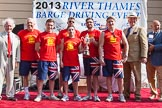 "TOW River Thames Barge Driving Race 2013: The ""Bill Lindley Trophy"", for the second rank winner, goes to the crew of barge ""Diana"", by Trinity Buoy Wharf.. River Thames between Greenwich and Westminster, London,  United Kingdom, on 13 July 2013 at 16:25, image #577"