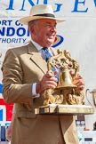 TOW River Thames Barge Driving Race 2013: Admiral Alan West holding the Transport on Water Challenge Trophy at the price-giving.. River Thames between Greenwich and Westminster, London,  United Kingdom, on 13 July 2013 at 16:28, image #580