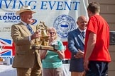 "TOW River Thames Barge Driving Race 2013: Admiral Alan West handing over the Transport on Water Challenge Trophy, for the first overall winner, to the crew of barge ""Blackwall"", by the Port of London Authority.. River Thames between Greenwich and Westminster, London,  United Kingdom, on 13 July 2013 at 16:28, image #581"