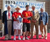 "TOW River Thames Barge Driving Race 2013: The ""Alan C. Bennet Memorial Trophy"", for the best painted barge, goes to the crew of ""The Matchgirls"" (ex Balfour) by by Unite the Union  .. River Thames between Greenwich and Westminster, London,  United Kingdom, on 13 July 2013 at 16:35, image #585"
