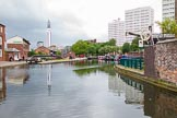 BCN Marathon Challenge 2014: Birmingham & Fazely Canal at Farmers Bridge Top Lock, with Cambrian Wharf (part of the former Newhall Branch) on the right.. Birmingham Canal Navigation,   United Kingdom, on 23 May 2014 at 13:36, image #11