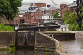 BCN Marathon Challenge 2014: Farmers Bridge locks on the Birmingham & Fazeley Canal, looking upwards from the pound between locks 3 and 4.. Birmingham Canal Navigation,   United Kingdom, on 23 May 2014 at 14:03, image #20