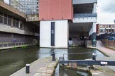 BCN Marathon Challenge 2014: Birmingham & Fazeley Canal, Farmers Bridge Locks: A modern building sits on top of the canal.. Birmingham Canal Navigation,   United Kingdom, on 23 May 2014 at 14:47, image #31