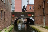 BCN Marathon Challenge 2014: Old and new at the Farmers Bridge Flight, Birmingham & Fazeley Canal, at Ludgate Hill Bridge, where the canal is dwarfed by a modern office block and the BT Tower.. Birmingham Canal Navigation,   United Kingdom, on 23 May 2014 at 14:57, image #34