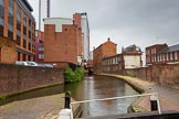 BCN Marathon Challenge 2014: The Birmingham & Fazeley Canal between  Ludgate Hill Brudge and Livery Street Bridge, with old canalside architecture on the right, and modern developments on the right.. Birmingham Canal Navigation,   United Kingdom, on 23 May 2014 at 15:00, image #35