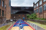 BCN Marathon Challenge 2014: Birmingham & Fazeley Canal, Farmers Bridge Locks: The canal continues, behind the lock, under Livery Street Bridge and the much later built railway bridge.. Birmingham Canal Navigation,   United Kingdom, on 23 May 2014 at 15:01, image #37