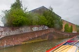 BCN Marathon Challenge 2014: Hospital Pound on the Birmingham & Fazeley Canal below the Farmers Bridge Locks. The bricked up factory bridge on the left served probaly Coronation Wharf.. Birmingham Canal Navigation,   United Kingdom, on 23 May 2014 at 15:24, image #40