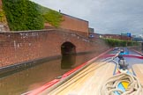 BCN Marathon Challenge 2014: Hospital Pound on the Birmingham & Fazeley Canal below the Farmers Bridge Locks. The bricked up factory bridge on the left served probaly City Wharf?. Birmingham Canal Navigation,   United Kingdom, on 23 May 2014 at 15:25, image #41