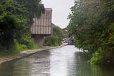 BCN Marathon Challenge 2014: A factory building extends over the towpath on the Grand Union Canal between Digbeth Junction and Bordesley Junction. Birmingham Canal Navigation,   United Kingdom, on 23 May 2014 at 16:41, image #65