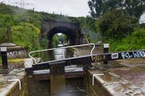 BCN Marathon Challenge 2014: The second of the Garrison Locks (no 60) on the Grand Union Canal (Birmingham & Warwick Junction Canal), with bridge 104C (Landor Street Railway Bridge) behind. Birmingham Canal Navigation,   United Kingdom, on 23 May 2014 at 17:13, image #69