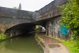 BCN Marathon Challenge 2014: Bridge 104 at Garrison Locks on the Grand Union Canal. Two bridges in one - the older brick structure on the left, and the newer concrete bridge built right through it. Birmingham Canal Navigation,   United Kingdom, on 24 May 2014 at 09:02, image #81