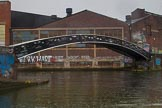 BCN Marathon Challenge 2014: Graffiti covered old warehouses or factories at Bordesley Junction, with a Horseley Iron Works bridge spanning the junction. Birmingham Canal Navigation,   United Kingdom, on 24 May 2014 at 09:25, image #88