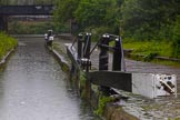 BCN Marathon Challenge 2014: Warwick Bar stop lock on the Grand Union (Warwick & Birmingham Junction Canal) close to Digbeth Junction. The water lecel could be higher or lower on either side of the two once separate systems, so the stop lock works both ways.. Birmingham Canal Navigation,   United Kingdom, on 24 May 2014 at 09:30, image #93