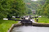 BCN Marathon Challenge 2014: Looking down the Perry Bar Locks on the Tame Valley Canal from the pond between locks 6 and 7, with the M6 motorway in the background. Birmingham Canal Navigation,   United Kingdom, on 24 May 2014 at 13:57, image #119