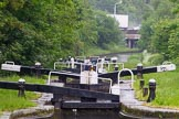 BCN Marathon Challenge 2014: Looking down the Perry Bar Locks on the Tame Valley Canal from the pond between locks 6 and 7, with the M6 motorway in the background. Birmingham Canal Navigation,   United Kingdom, on 24 May 2014 at 13:57, image #120