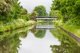 BCN Marathon Challenge 2014: The Tame Valley Canal, as one of the last parts of the BCN to be built, has a dead straight summit level. Gorge Farm footbrige, Hamstead. Birmingham Canal Navigation,   United Kingdom, on 24 May 2014 at 14:37, image #131