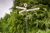 "BCN Marathon Challenge 2014: Rushall Junction signpost on the Tame Valley Canal. The three possible directions are ""Salford Junction 8 1/2 miles, 13 locks"", ""Catshill Junction 8 miles 9 locks"", and ""Tame Valley Junction 3 1/2 miles"". Birmingham Canal Navigation,   United Kingdom, on 24 May 2014 at 14:56, image #136"