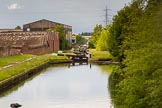 BCN Marathon Challenge 2014: Riders Green Locks on the Walsall Canal, with another old factory building on the left that might be gone in the next few years. Birmingham Canal Navigation,   United Kingdom, on 24 May 2014 at 16:55, image #162
