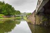 BCN Marathon Challenge 2014: Windmill End Junction, where the Dudley No 2 Canal meets the Dudley No 1 Canal, which leads in the photo, under the two bridges, to Netherton Tunnel. Birmingham Canal Navigation,   United Kingdom, on 25 May 2014 at 06:36, image #199