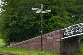 "BCN Marathon Challenge 2014: Signpost at Windmill End Junction of the Dudley No 1 and No 2 Canal. It reads ""Stourbridge 8 1/2 miles 25 locks"", ""Hawne Basin 2 1/4 miles"", and ""BCN Main Line 3 miles"". Birmingham Canal Navigation,   United Kingdom, on 25 May 2014 at 06:36, image #201"
