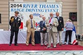 TOW River Thames Barge Driving Race 2014: From left to right: Admiral Lord West, PLA CEO Robin Mortimer, Prof Alan Lee Williams OBE, Tony Parker, Jeremy Randall, and Ann Robinson.. River Thames between Greenwich and Westminster, London,  United Kingdom, on 28 June 2014 at 16:30, image #460
