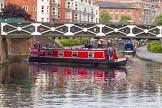 "BCN 24h Marathon Challenge 2015: Narrowboat ""Missbourne"" starting the event at Old Turn Junction. Birmingham Canal Navigations,    on 23 May 2015 at 08:02, image #2"