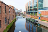 BCN 24h Marathon Challenge 2015: Old Turn Junction seem from the Birmingham & Fazeley Canal, with an old warehouse on the left, and the modern Barcleycard Arena on the right. Birmingham Canal Navigations,    on 23 May 2015 at 08:21, image #5