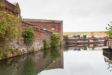 BCN 24h Marathon Challenge 2015: Old industry on the left, where a building seems to be in use despite a tree growing on the roof, at Icknield Port Loop. Ahead is the dam of Rotton Park Reservoir.. Birmingham Canal Navigations,    on 23 May 2015 at 08:49, image #16