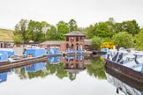BCN 24h Marathon Challenge 2015: The Canal & River Trust maintenance depot at Icknield Port, with the dam of Rotton Park Reservoir behind. The buildings and the cranes are listed structures.. Birmingham Canal Navigations,    on 23 May 2015 at 08:50, image #18