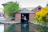 "BCN 24h Marathon Challenge 2015: Hisoric butty ""Leo"", in British Waterways colours, at the Canal and River Trust maintenavce depot Icknield Port.. Birmingham Canal Navigations,    on 23 May 2015 at 08:51, image #20"