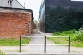 BCN 24h Marathon Challenge 2015: A footpath next to the Soho Loop, the structure on the right seems to have been built with steel plates welded together. Birmingham Canal Navigations,    on 23 May 2015 at 09:47, image #41