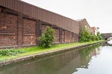 BCN 24h Marathon Challenge 2015: Old factory walls, with a newer factory behind, on the BCN Engine Arm. Birmingham Canal Navigations,    on 23 May 2015 at 10:46, image #74
