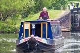 "BCN 24h Marathon Challenge 2015: Charley Johnston on ""Felonious Mongoose"" at the Ryders Green Locks (Walsall Canal). The boat appears much shorter than it is because of the long lens used for the photo. Birmingham Canal Navigations,    on 23 May 2015 at 14:26, image #118"