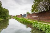 BCN 24h Marathon Challenge 2015: Peaceful scene with old factory walls on the Walsall Canal, on the the sire of a church in Darlsaston. Birmingham Canal Navigations,    on 23 May 2015 at 15:48, image #127