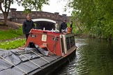"BCN 24h Marathon Challenge 2015: Meeting FMC narrowboat ""Jane"" (?) near Rookery Bridge on the Wyrley & Essington Canal. Birmingham Canal Navigations,    on 24 May 2015 at 07:48, image #154"