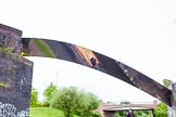 "BCN 24h Marathon Challenge 2015: ""Felonious Mongoose"" is reflected in canal art at a former railway bridge over the Wyrley & Essington Canal near New Cross Grange. Birmingham Canal Navigations,    on 24 May 2015 at 08:03, image #161"