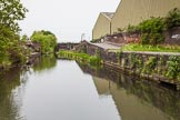 BCN 24h Marathon Challenge 2015: Horseley Fields Stop on the Wyrley & Essington Canal next to Horseley Fields Junction. There used to be a toll house next to the stop lock. The factory bridge on the right served steel works.. Birmingham Canal Navigations,    on 24 May 2015 at 08:15, image #165