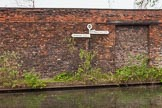 BCN 24h Marathon Challenge 2015: BCNS signpost at Horseley Fields Junction, in front of an old factory wall (Shakespeare Iron Foundry?). Birmingham Canal Navigations,    on 24 May 2015 at 08:18, image #169