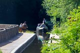 : Sue Day, canal horse Bilbo, and historic butty Maria approaching Marple Aqueduct on the Lower Peak Forest Canal.     on 03 July 2015 at 15:11, image #25