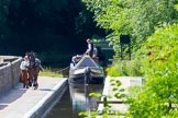 : Sue Day, canal horse Bilbo, and historic butty Maria approaching Marple Aqueduct on the Lower Peak Forest Canal.     on 03 July 2015 at 15:11, image #26