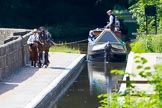 : Sue Day, canal horse Bilbo, and historic butty Maria approaching Marple Aqueduct on the Lower Peak Forest Canal.     on 03 July 2015 at 15:12, image #27