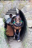 : Sue Day (Horseboating Society) with horse Bilbo walking through the horse tunnel of Marple lock 13..     on 03 July 2015 at 17:42, image #83