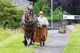: Sue Day (Horseboating Society) walking horse Bilbo past Marple lock 14 whilst narrowboat Maria is in the lock.     on 03 July 2015 at 18:02, image #91