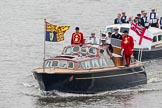 Thames Diamond Jubilee Pageant: VIPS-Britannia Royal Barge (V59) and Britannia Escort Boat No.2 (V60).. River Thames seen from Battersea Bridge, London,  United Kingdom, on 03 June 2012 at 14:24, image #30